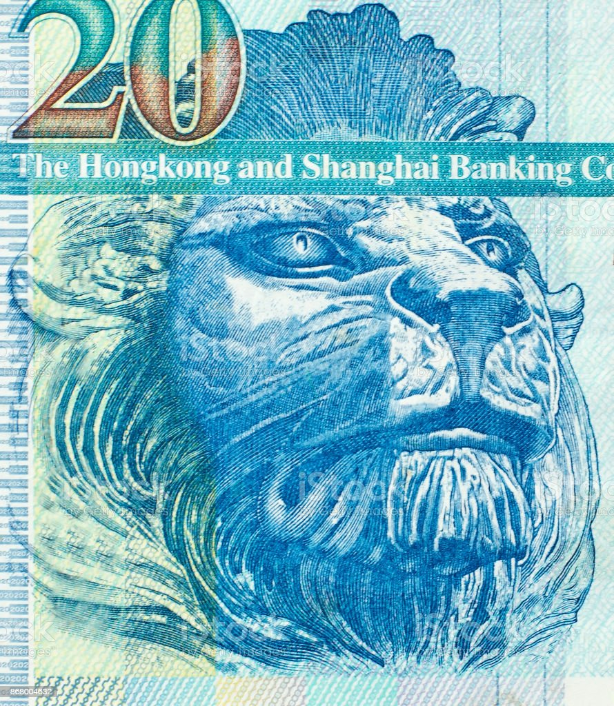 British lion on the fragment of old twenty Hong Kong Dollars banknote close-up stock photo