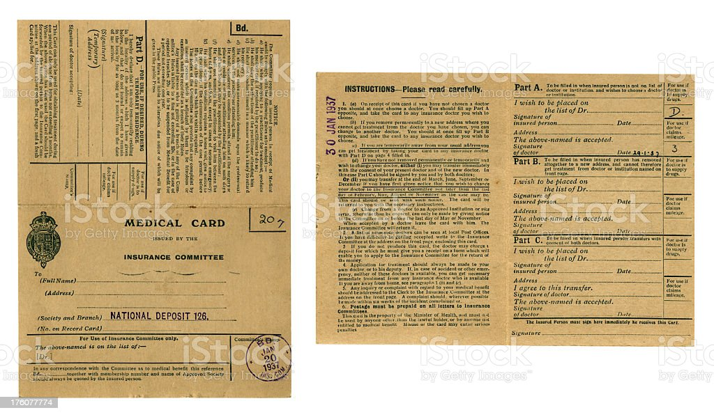 British medical card pre-NHS, 1937, front and back royalty-free stock photo
