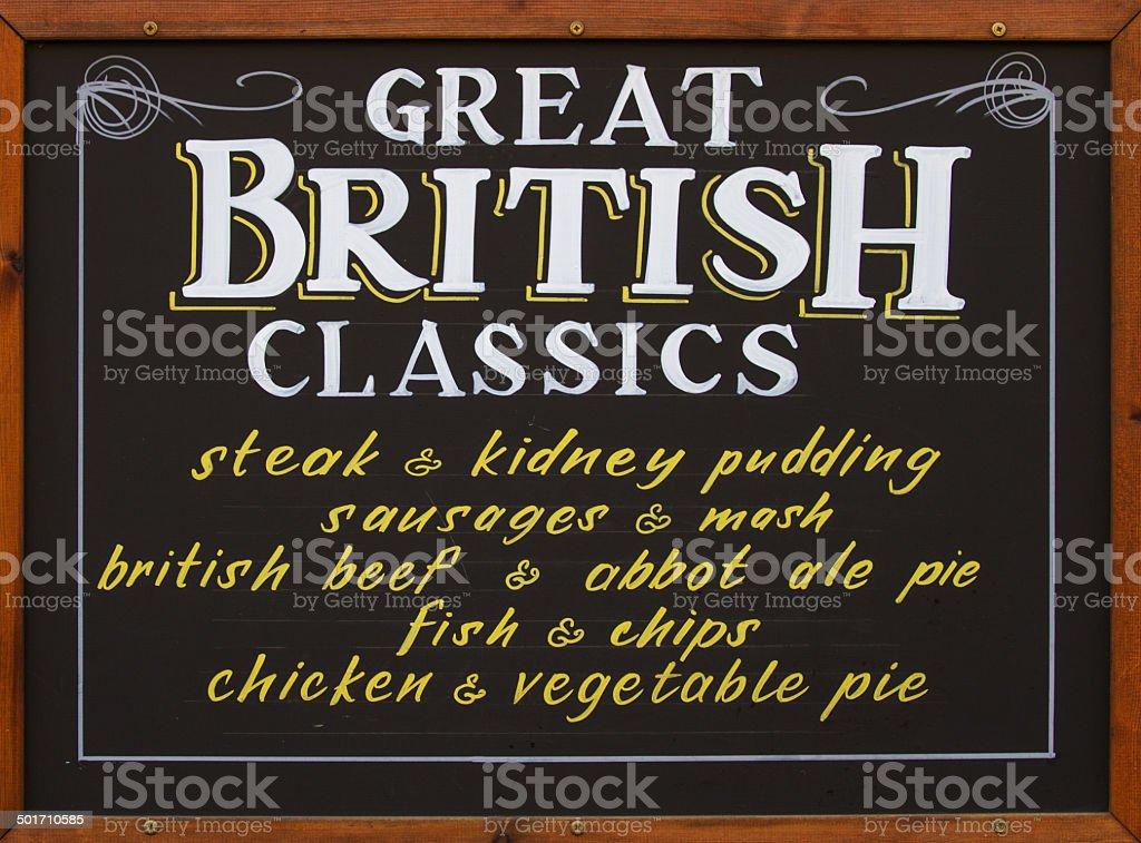 british menu board stock photo