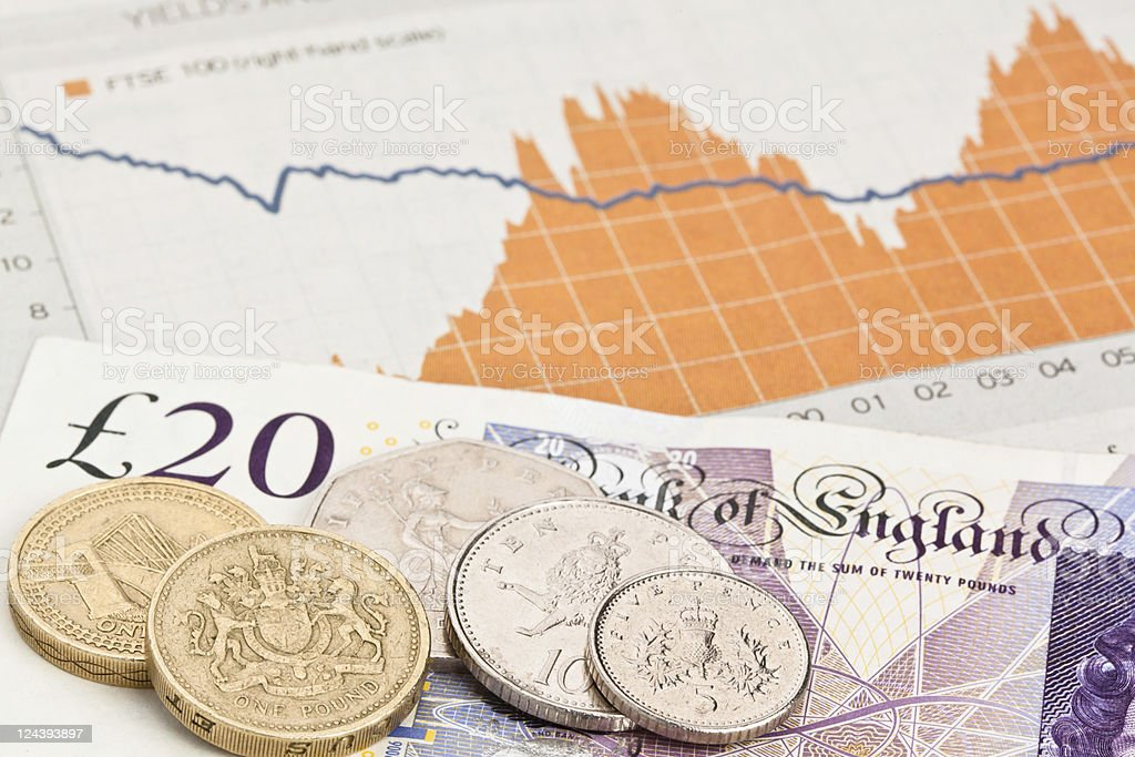 British Money and stock exchange graph royalty-free stock photo