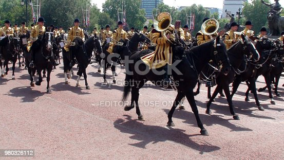 istock British Mounted Band Of The Household Cavalry View During Trooping The Colour Parade In London. England 980326112