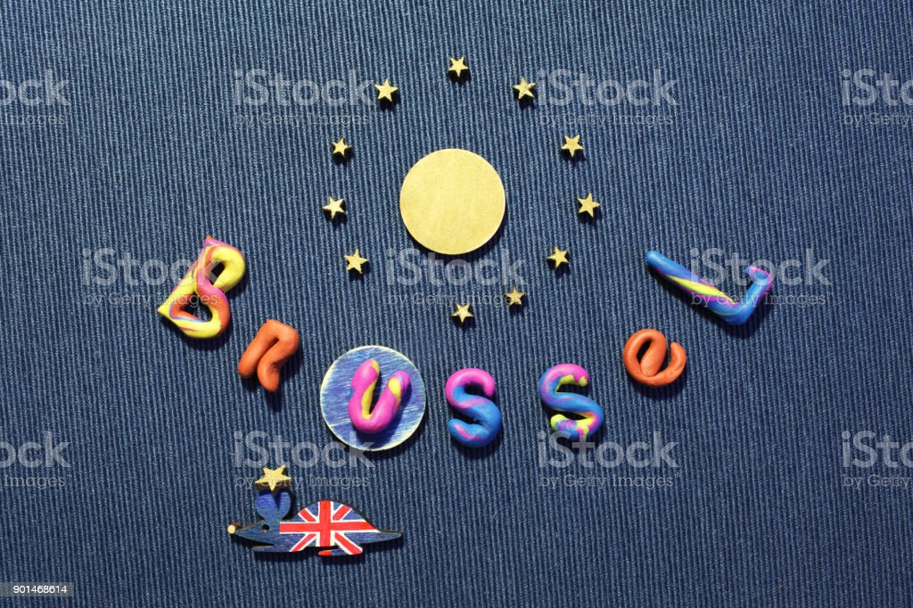 British mouse dragged the star from the European Union flag stock photo