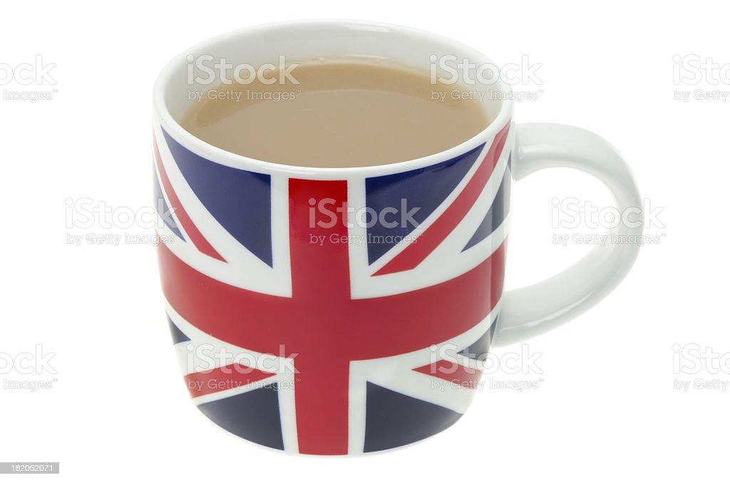 British mug full of hot tea stock photo