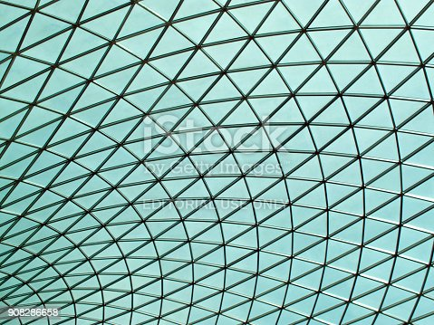 London, UK, May, July 23, 2009 : The British Museum futuristic glass ceiling roof of the Great Court central quadrangle
