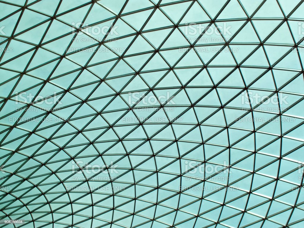 British Museum futuristic glass ceiling roof of the Great Court stock photo