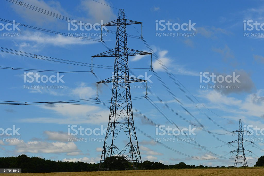 British National Grid electricity power pylons. stock photo