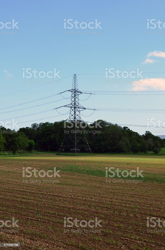 British National Grid electricity pylon stock photo