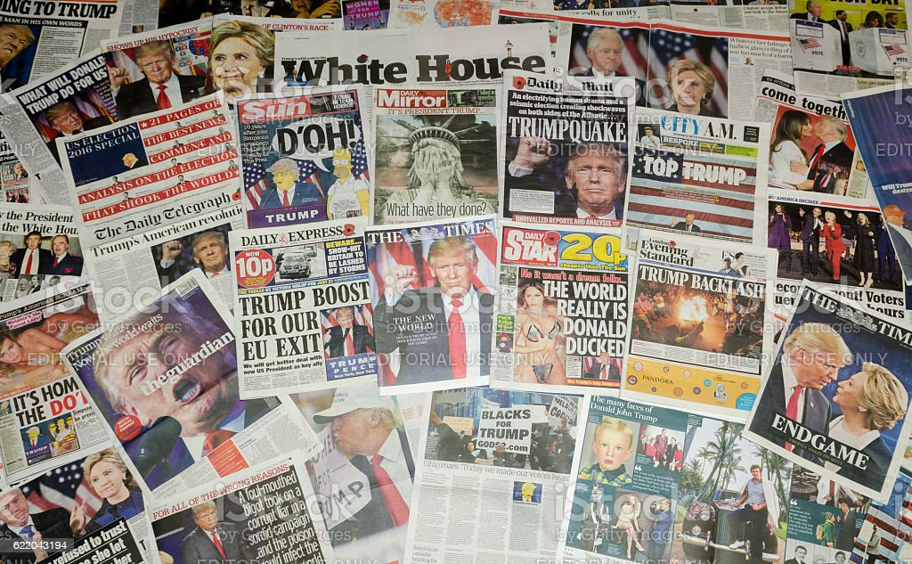 British newspapers reporting on the US presidential election result stock photo
