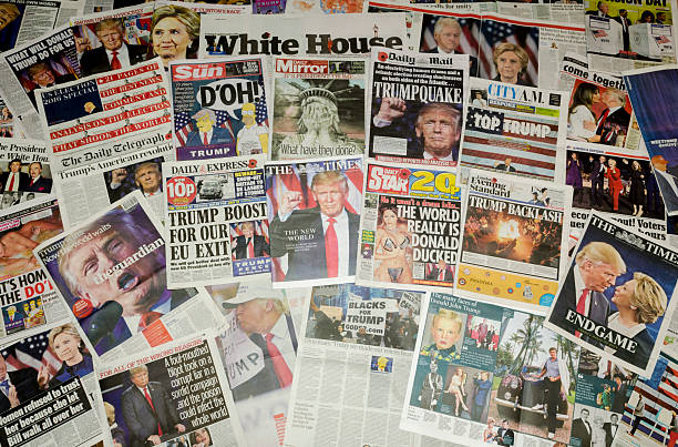 british newspapers reporting on the us presidential election result - trump stockfoto's en -beelden