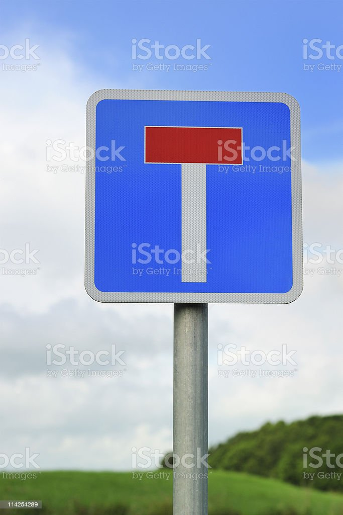 British no through road sign photographed in a rural setting stock photo