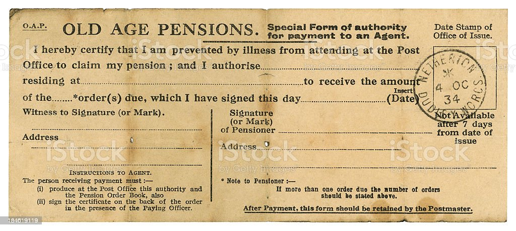 British Old Age Pension proxy collection form, 1934 stock photo