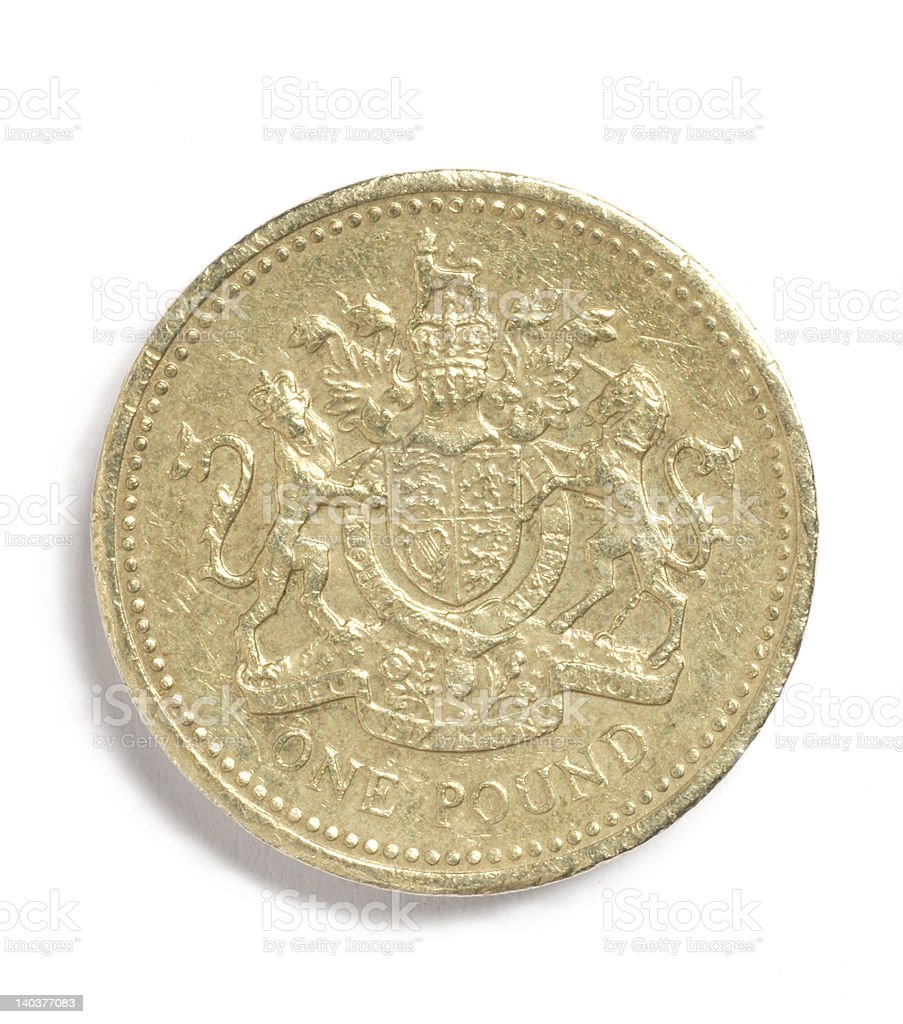 British one pound coin isolated on a white background stock photo
