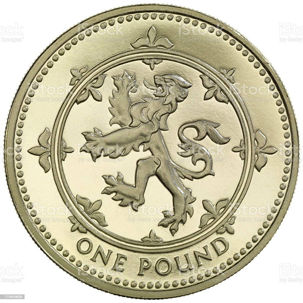 British One Pound coin 'Lion Rampant' royalty-free stock photo