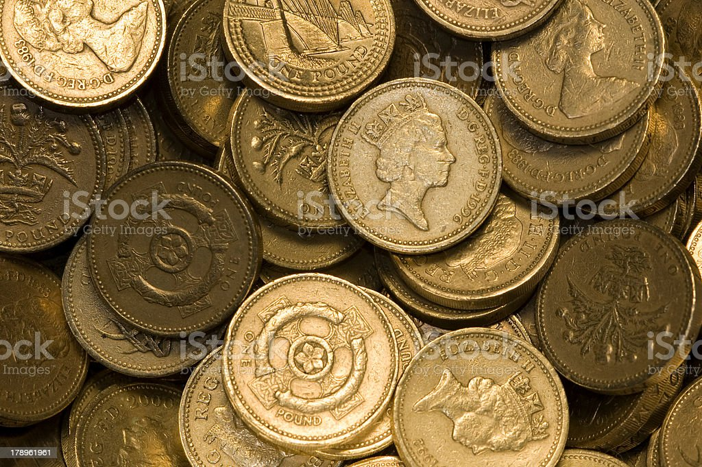 British one pound coins stock photo