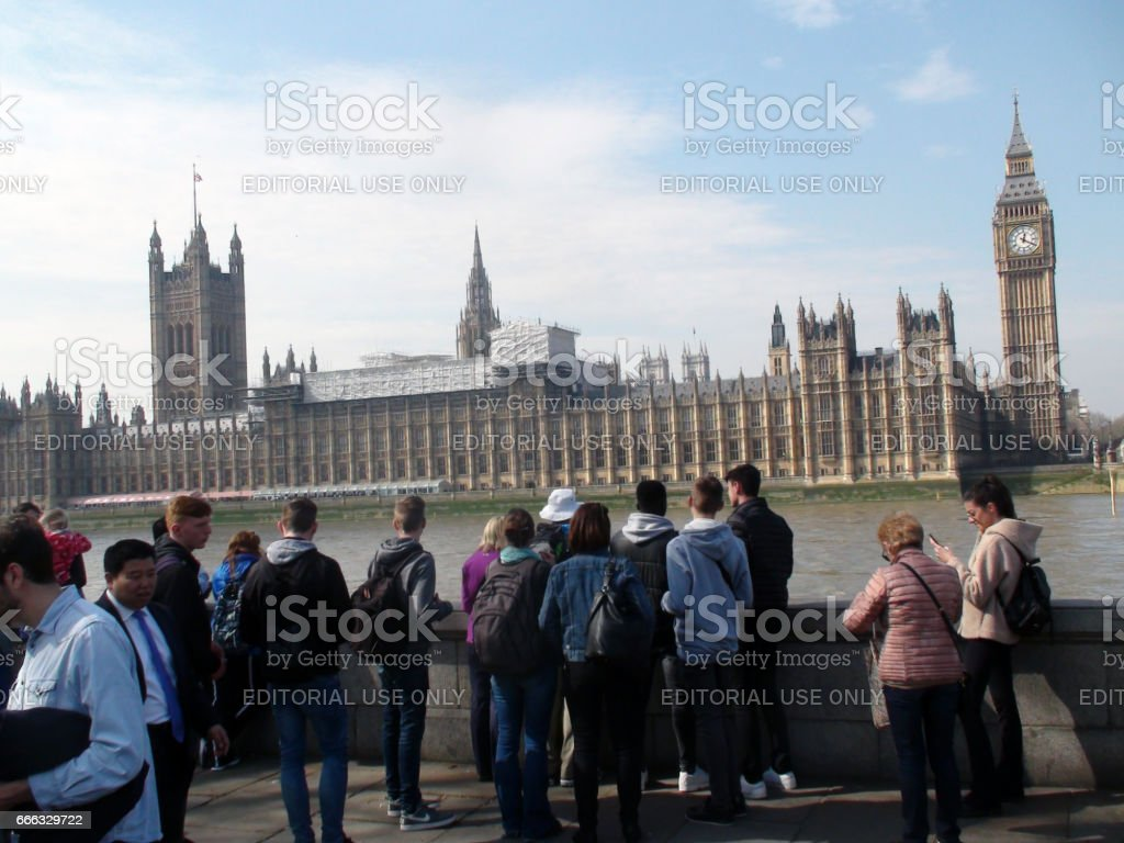 British Palace Of Westminster London,Thames River,Lots Of Tourists Standing View In United Kingdom stock photo