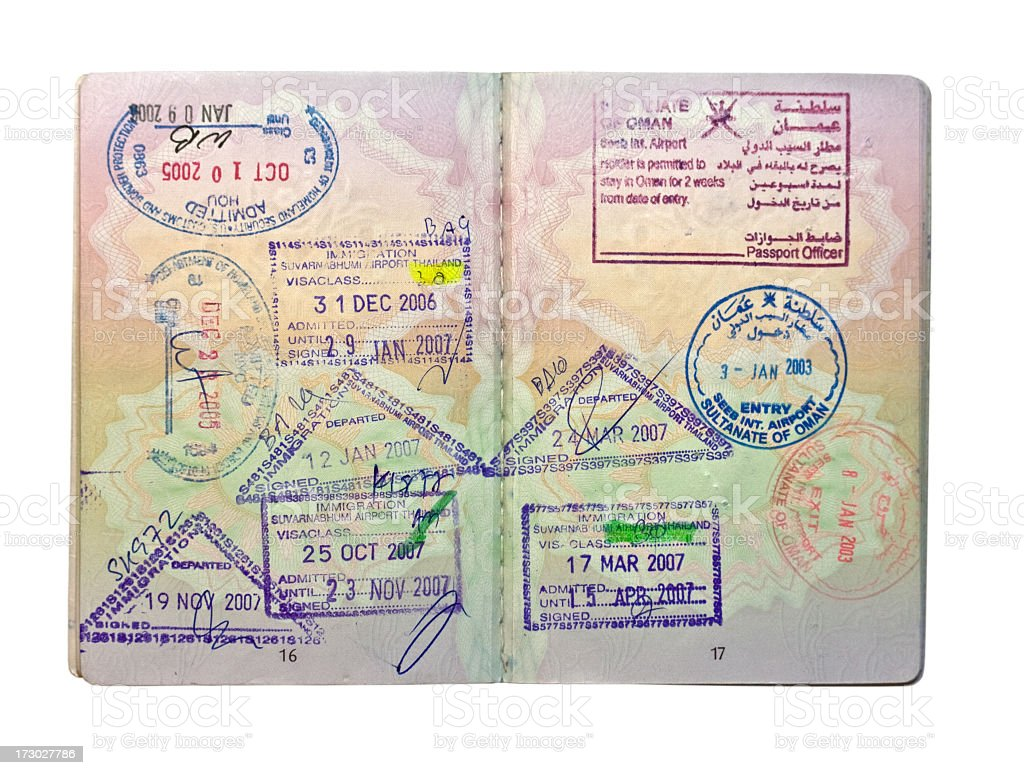British passport with stamps, isolated on white. royalty-free stock photo