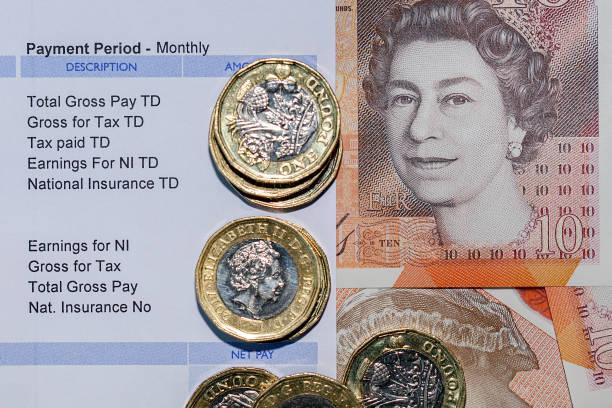 British Payslip - Paycheck stock photo