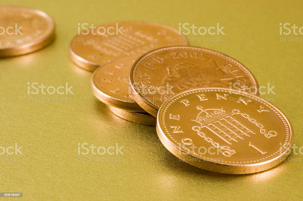British Penny Coins (macro) royalty-free stock photo