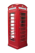Classical British telephone booth against white bakground with clipping path. Hi res
