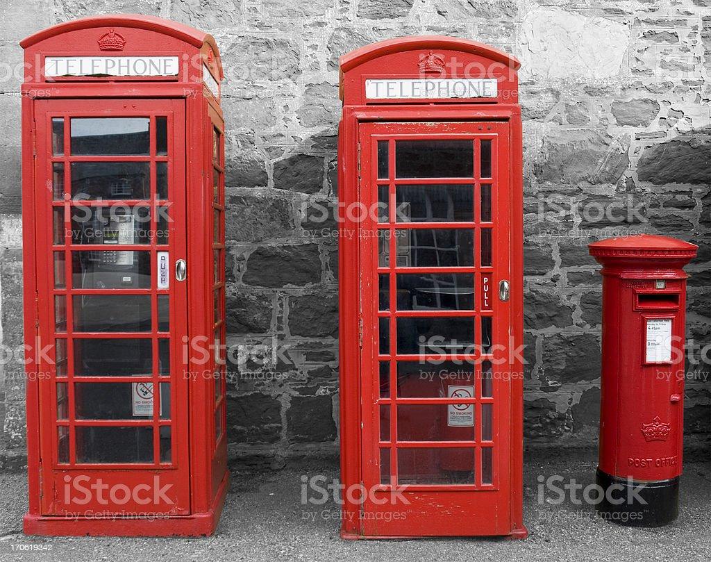 British Phone Boxes and Post Box stock photo