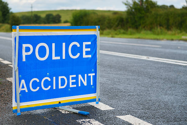 British police accident sign at the side of the road. stock photo