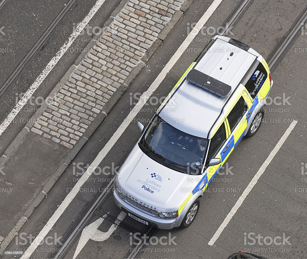 British Police Vehicle From Above royalty-free stock photo