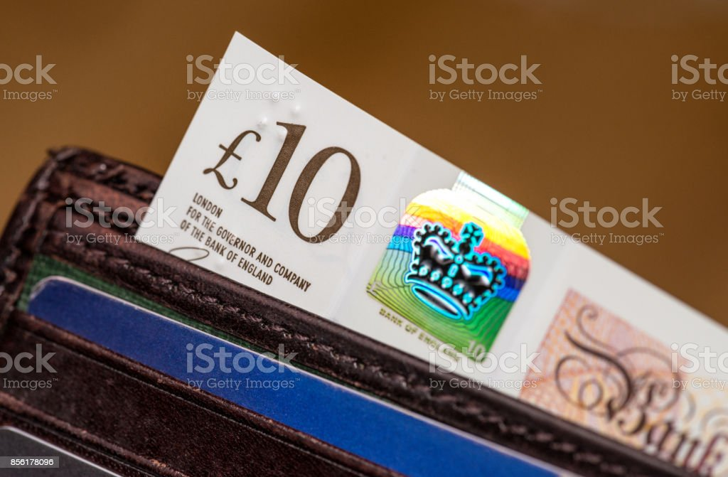 British polymer Ten Pound Note with holographic security feature stock photo