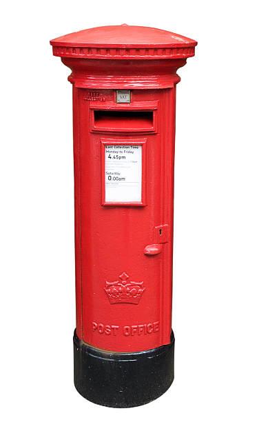 British Post Box Isolated on White stock photo