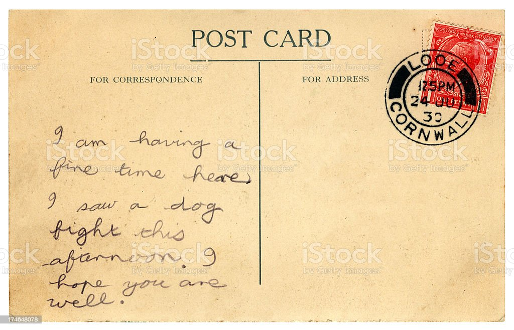 British postcard 1930 with message about a dog fight royalty-free stock photo