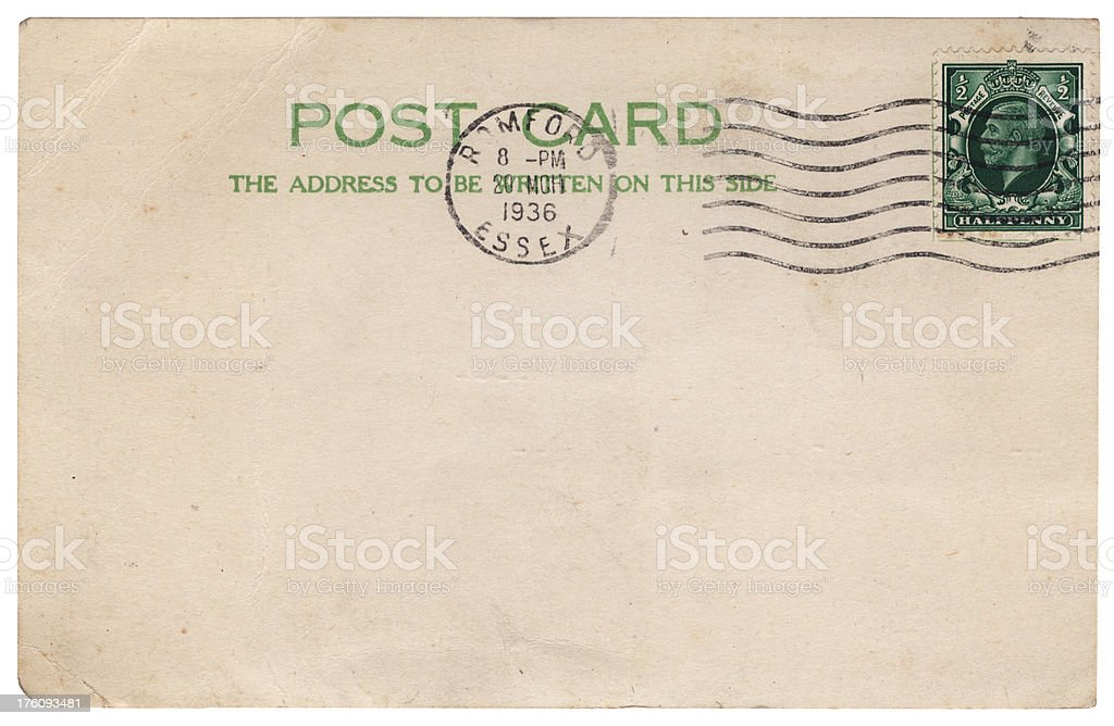 British postcard from Romford, Essex, 1936 royalty-free stock photo