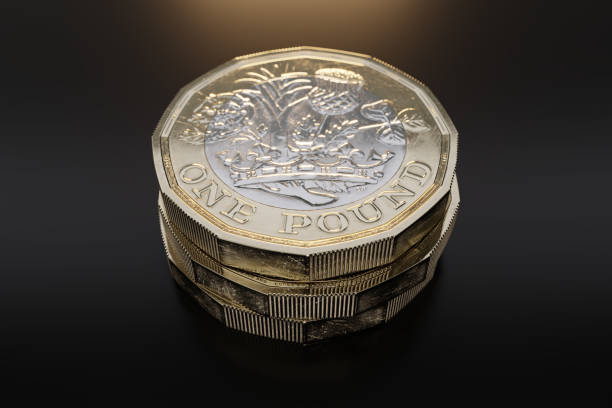A 2017 British pound coin. Black background. A 2017 British pound coin shown in close-up on a black background. one pound coin stock pictures, royalty-free photos & images