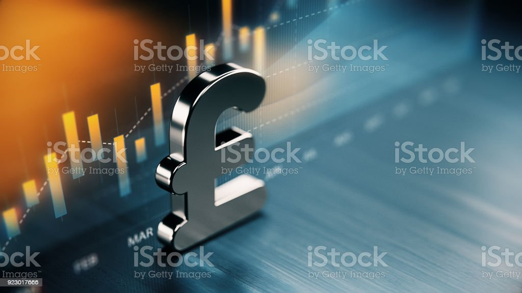 British Pound Currency Symbol Standing On Wood Surface In Front Of A