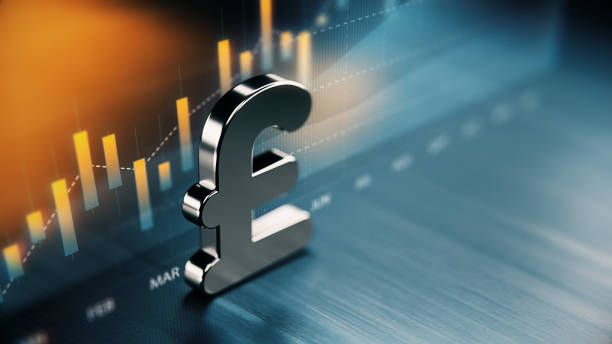British Pound Currency Symbol Standing On Wood Surface In Front Of A Graph British pound currency symbol standing on wood surface in front of a graph. Selective focus. Horizontal composition with copy space. british currency stock pictures, royalty-free photos & images
