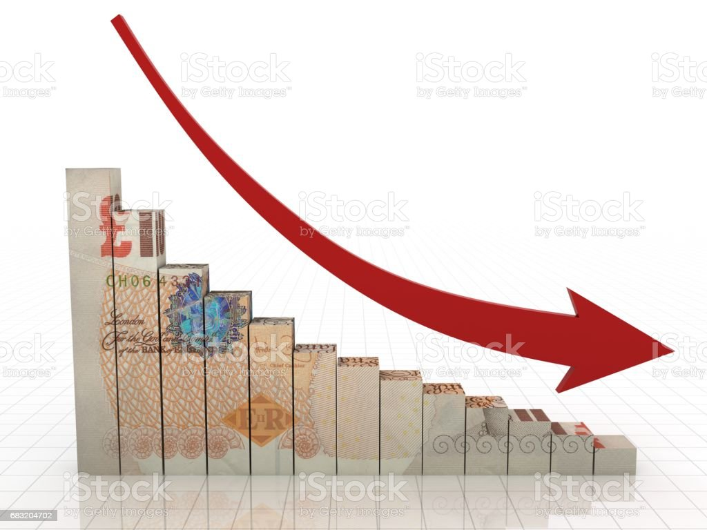 British pound money graph crisis concept stock photo