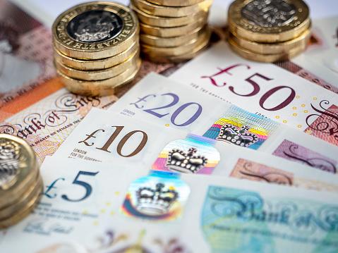 Close-up of British bank notes