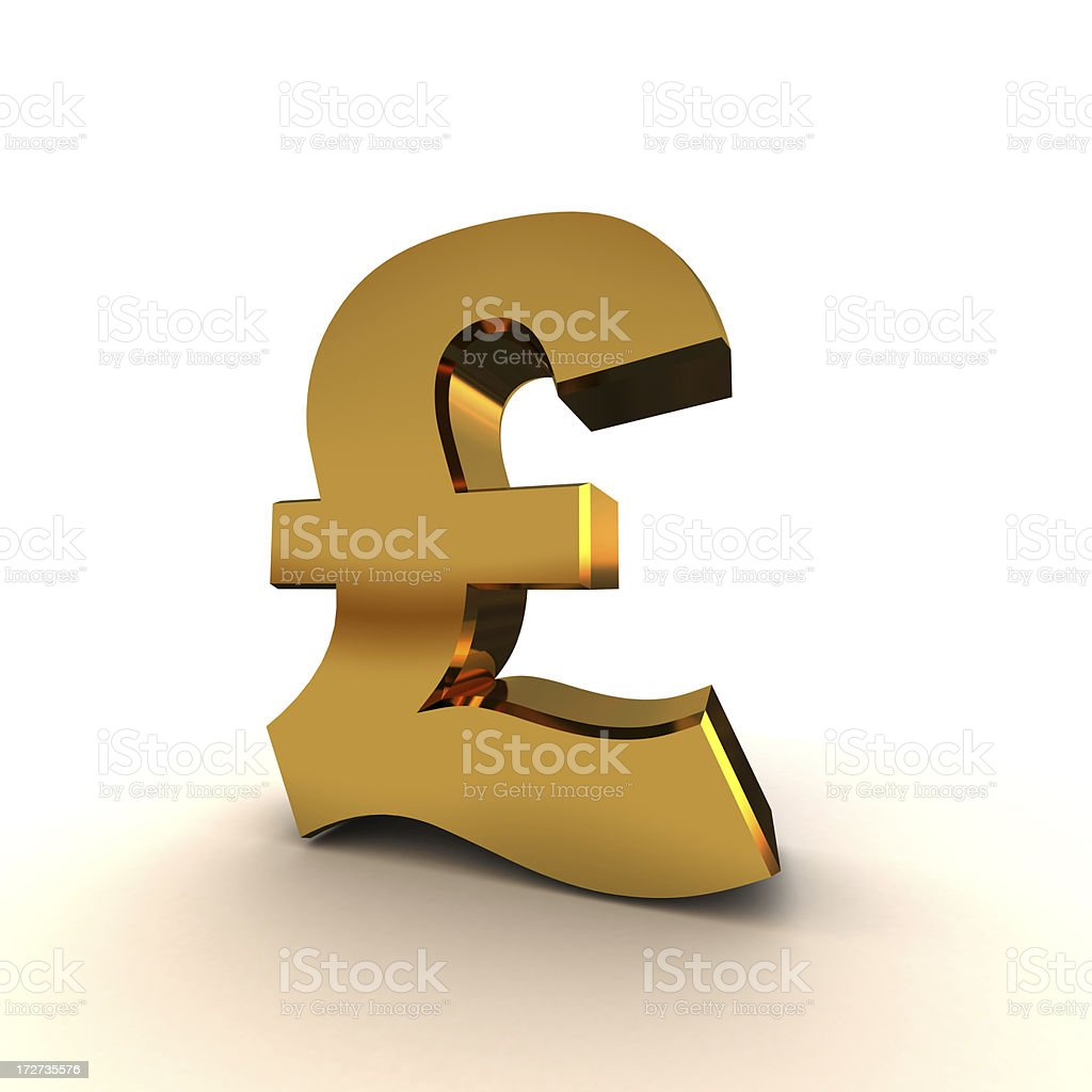 British Pound Symbol in Gold royalty-free stock photo
