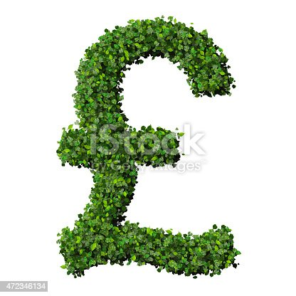 British Pound Symbol Or Sign Made From Green Leaves Stock Photo