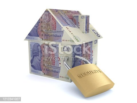 British pound UK money buy house insurance safe lock