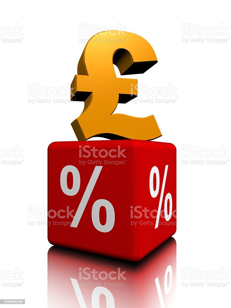 British pound up above red cube percent stock photo