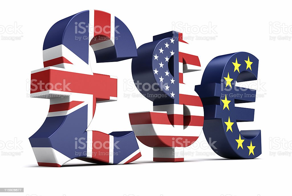British Pound Us Dollar Euro Currency Symbols Stock Photo More