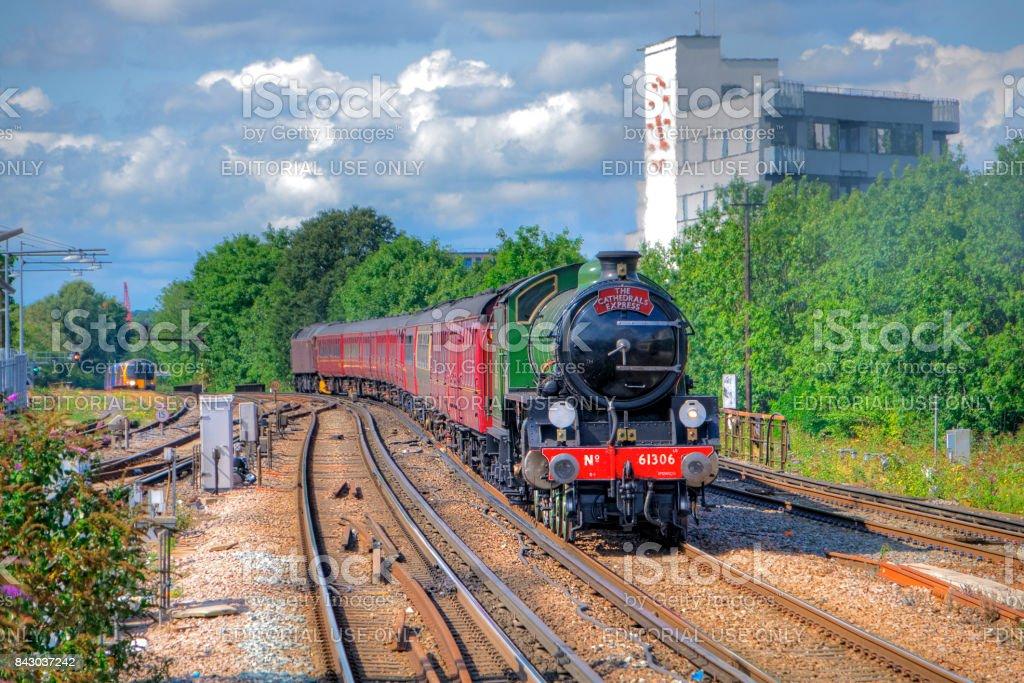 British Railways Steam Train arrives at Clapham Junction stock photo