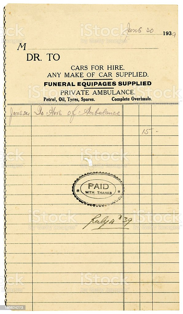 British receipt for vehicle hire, 1939 royalty-free stock photo