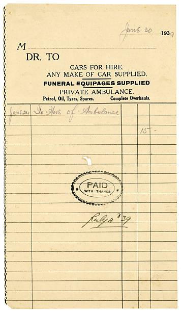 British reçu pour le véhicule de location, de 1939 - Photo