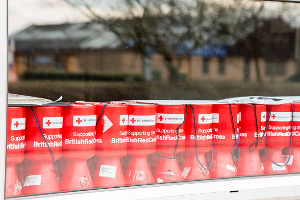 British Red Cross Collection Boxes stock photo