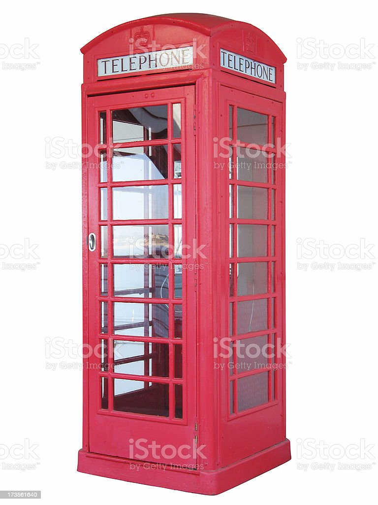 British red phone booth - isolated royalty-free stock photo