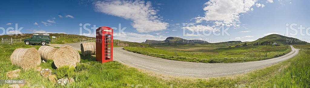 British Red phone box hay bales idyllic green rural panorama stock photo