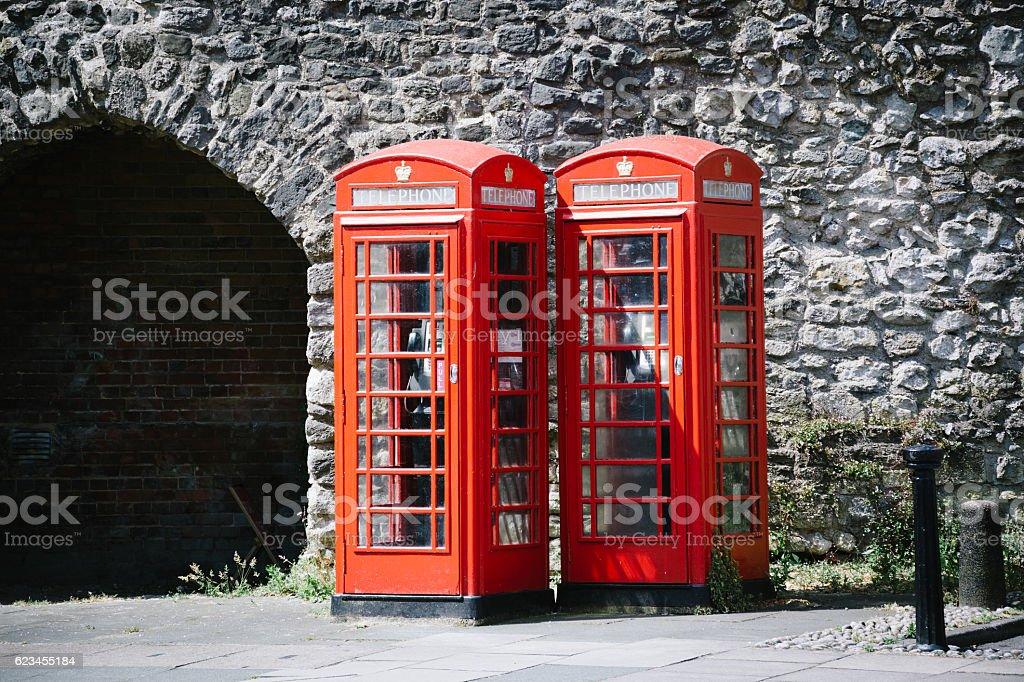 British red telefone box stock photo