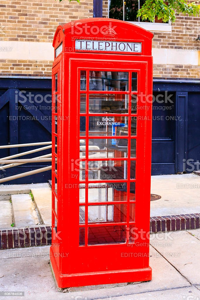 British Red telephone box in Little Rock Arkansas stock photo