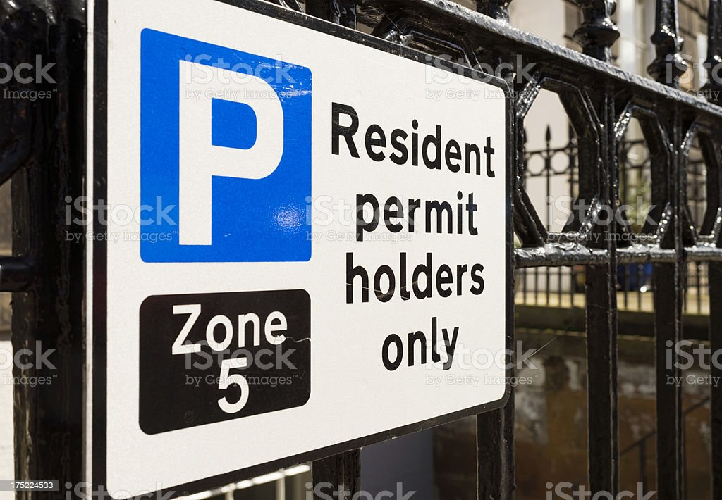 British Residents Permit Parking Sign stock photo