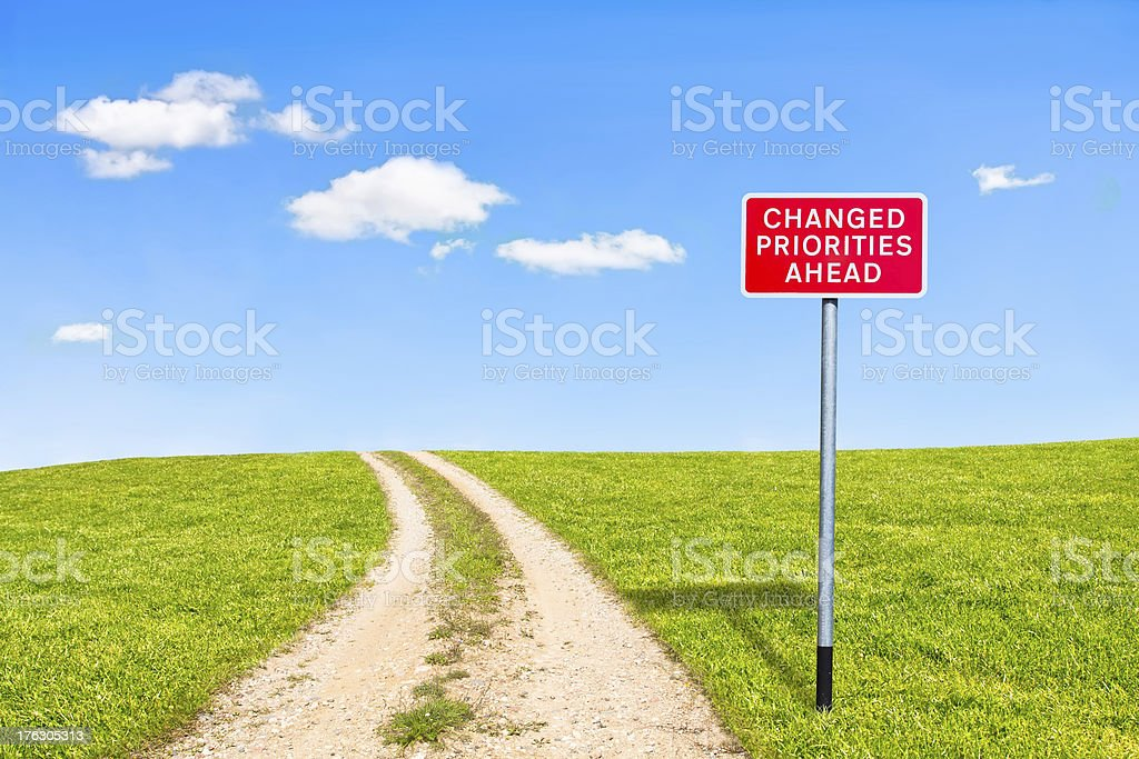 british road sign priorities changed ahead royalty-free stock photo